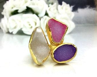 Druzy Agate Ring, Gemstone Ring, Bezel Ring, Sterling Silver Ring, Handmade Ring, Gold Plated Ring, Birthstone Ring, Metalwork Ring, OOAK.