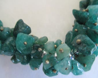 Green Gemstone Necklace - Jewelry - Necklaces - Very Beautiful with Mini Stones - Estate Jewelry