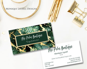 Botanical Plant Palm Gold Foil Splash Printable Business Card - Calling Card - Personalized Card Digital File
