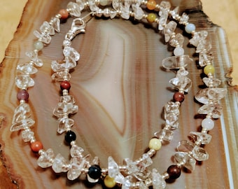 A Touch Of Color crystal quartz gemstone chip and multicolor beaded choker necklace available in three sizes 16 inch 18 inch 20 inch