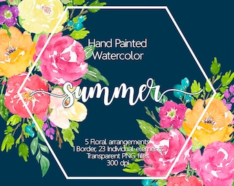Watercolor Flower Clipart - Watercolor flowers, Floral clipart, Floral border, Summer floral, Scrapbooking, Watercolor clipart, Hand painted