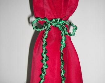 Wine Bottle Gift Bag Red Velour