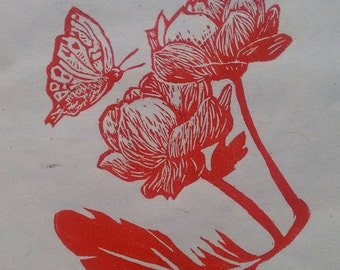 Feather, Flower, Butterfly, Home decor, Woodcut