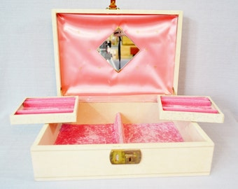 Cream & Pink Vintage Jewelry Box Fold Out Trays Pink Velvet Mirror Gold Trim Women's Girl's Mother's Day Graduation