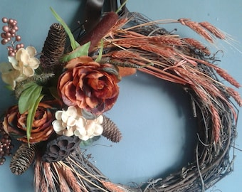 "20"" Ridiculous and Wheat Autumn Wreath, Grapevine Wreath, Pinecones, Wheat"