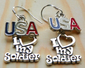 US Soldier Earrings Military Earrings red white and blue earrings USA earrings 4th of July earrings patriotic earrings Soldier earrings