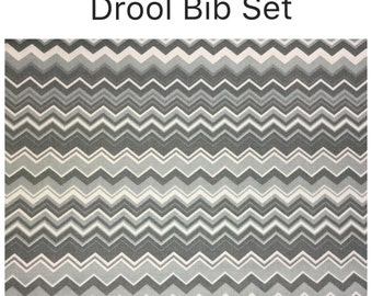 Drool bib and strap covers for front facing baby wearing for Ergo, Boba or Beco Gemini gray chevrons