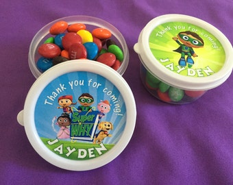 12 Personalized Super Why Candy containers / candy cups with lids / party favors