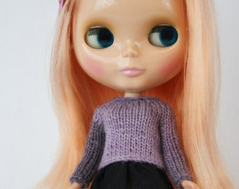 Blythe fitted fingering weight sweater knitting PATTERN long-sleeve doll cardigan - instant download - permission to sell finished objects