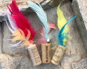 Cat toys, feather cat toys, wine cork cat toy, upcycled cat toy