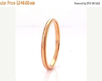 Mothers Day Sale 14 kt  Rose Gold Classic Millgrain Edge Style 3mm Wide Commitment or Wedding Band Custom made Size 4 through 14