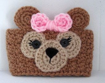 Crochet ShellieMay Bear Inspired Teddy Bear Coffee Cup Cozy