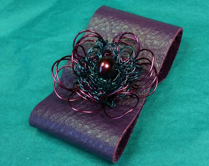 Purple Soft Leather Adjustable Cuff with Purple and Teal Wire Flower and Plum Natural Pearl Center