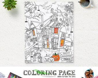 Halloween Coloring Page Printable Haunted House Party Coloring Pages Instant Download Digital Art Holiday Printable Adult Coloring Book
