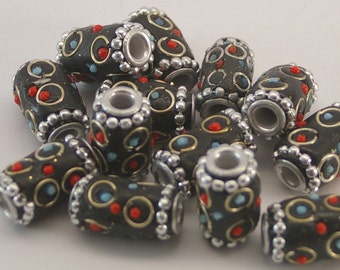 KASHMIRI BEADS (1) tribal bead, ethnic bead, handmade, Indonesia, clay bead, beading supplies, black, affordably priced, destash beads