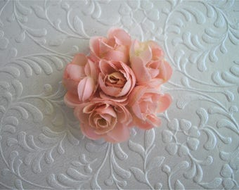 Peach Blush Ranunculus Cluster Flower Hair Adornment Brooch Options Bobby Pin Hair Clip Two Inch Diameter by handcraftusa