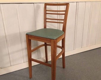 Retro Cherry Wood Counter Height Barstool / MCM Tall Chair Upholstered Seat Vintage