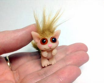 "Tiny Kitten Trollfling Troll Miniature doll ""Little Leo"" by Amber Matthies"