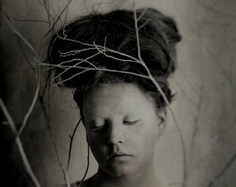 Being Still - FREE SHIPPING - Surreal Photo Print Portrait Gray White Cream Painted Face Strange Branches Tree Twigs Shadows Creepy Wall Art