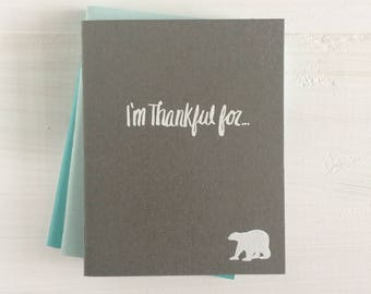 i'm thankful for pressed pocket journal with a polar bear | set of 3
