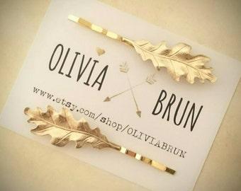Gold Oak Leaf Bobby Pins Leaves Hair Pins Leaf Hair Clips