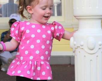 Polka Dot Peplum Top, Sizes 3 months to 12 years