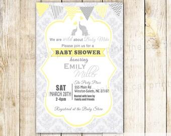 Elephant Invitation Elephant Baby Shower Invitation Printable Invitation Baby Boy Shower Little Peanut Invite Yellow Damask Invite Printable
