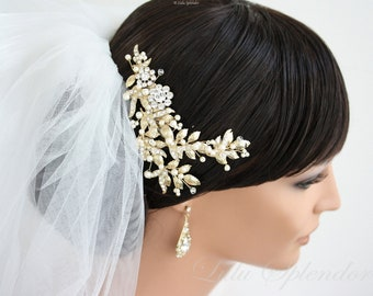 Leaves Hair Comb  Gold Wedding Headpiece Gold Leaf Bridal Comb Swarovski Pearl and Crystal Wedding Hair Comb Vintage Style Head Piece MIER H