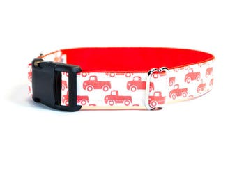 Vintage Rustic Country Little Red Truck Dog Collar - Red Dog Collar - Vintage Ford dog collar - Country Boy Dog Collar - Country Girl Collar