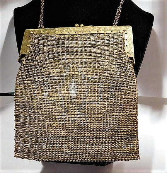 French Steel Cut Purse / Micro Beaded Handbag /  Art Deco Bag / 1920s Flapper / France Fashion