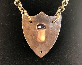 Antique Keyhole Escutcheon Pendant Necklace - Avant Garde - Steampunk - Eclectic