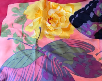Vintage CARLYN, Silk Floral, Butterfly Scarf