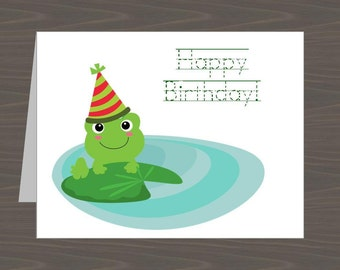 Frog Birthday Cards for Kids, Froggie Birthday Cards, Frog Birthday Notes, Toad Birthday Card, Kids Frog Birthdayday Card, Cute Frog Card