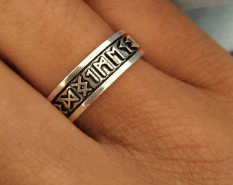 Rune Ring Pagan Jewlery Futhark pagan ring rune Odin Jewlery