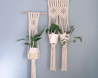Macrame Wall Hanging Planter / Handmade Natural Plant Hanger / Diamond Design / Single & Double Sizes