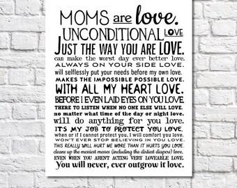 Cadeau de fête des mères pour maman amour inconditionnel poème impression d'Art cadeau d'anniversaire pour maman Wall Art, cadeau pour maman maternité citation affiche de mariage