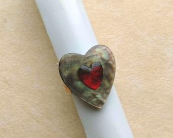 Adjustable Ring, Mother of Pearl & Ruby Red Glass Heart, Romantic Ring, Gift for her, Valentine's Day - My Heart by enchantedbeas on Etsy