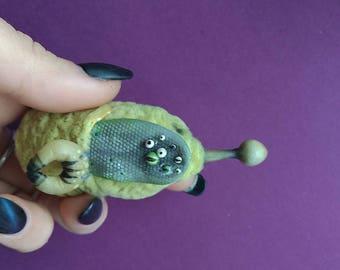 Krokozyabra (green) and the Multieyed. Viscose toy. Polymer clay. Fantasy world