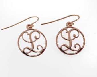 "1 initial Monogram earrings. Gold monogram earrings. 0.6"" monogram earrings. Personalized earrings. Monogram jewelry. Personalize earring"