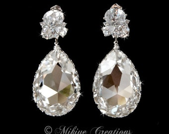 Wedding Drop Chandelier Earrings Jewelry, Wedding Accessories, Bridal Chandelier Swarovski Crystal Cubic Zirconia Drop Earrings - Octavia