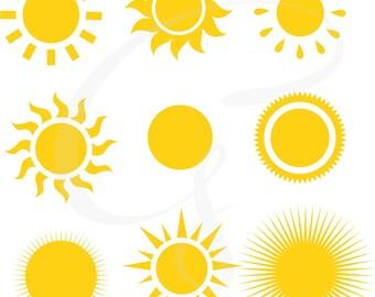Sun clipart, Sun Digital Clipart, sunshine, commercial use, sun vector, shining sun, digital clipart, sun rays, scrapbooking