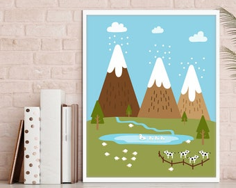nursery mountains print, PRINTABLE, kids room decor, kids room art, nursery nature print, baby room, baby decor, 5 SIZES INCLUDED