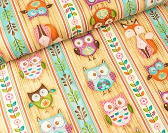 Cotton fabric woodland critters owls and foxes on wood optics (13.90 EUR/meter)