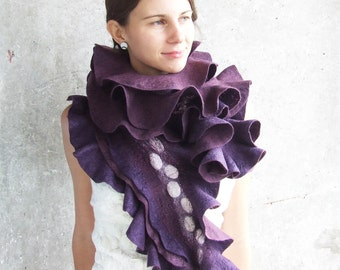 Luxury blackberry scarf shawl extra long purple felted wool scarf rich puple plum ruffle Valentines day gift idea for her spring fashion