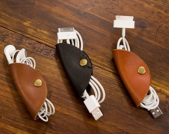 Cable Tacos - Cable Clamps - Cable Ties - Ear Bud Holder - Cable Organizer - Solid Brass Snaps - Made in Texas
