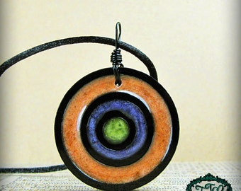 Glittery Orange, Purple, and Green Bullseye Style Resin and Acrylic OOAK Necklace