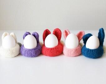"DIY Knitting PATTERN - Knit Wool Felt Bunny Bowls (in 3"", 4"", and 7"" diameter)"