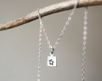 Stamped Sterling Silver Star Necklace/ Gift for Mom/ Customizable Sterling Stamped Necklace/ Stamped Sterling Star Pendant/ Star Necklace