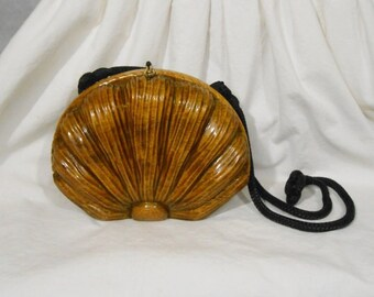 Vintage 1980s Timmy Woods Flower Clam Shell Purse // 80s High Fashion Designer Accessory OOAK