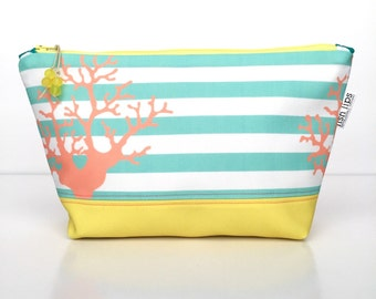 Coral Stripes Large Zipper Pouch, Recycled Cosmetic Bag, Diaper Bag Organizer, Eco Travel Bag, Glass Bead Tassel, Yellow Christmas Gift